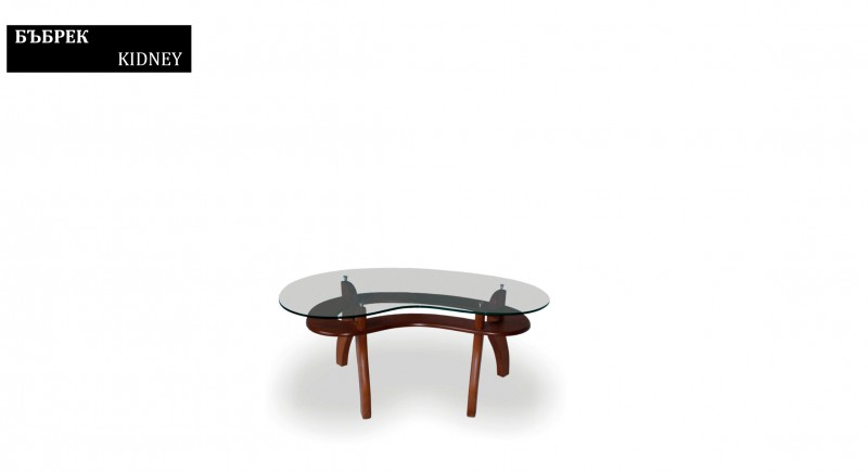Tea and coffee table KIDNEY - glass